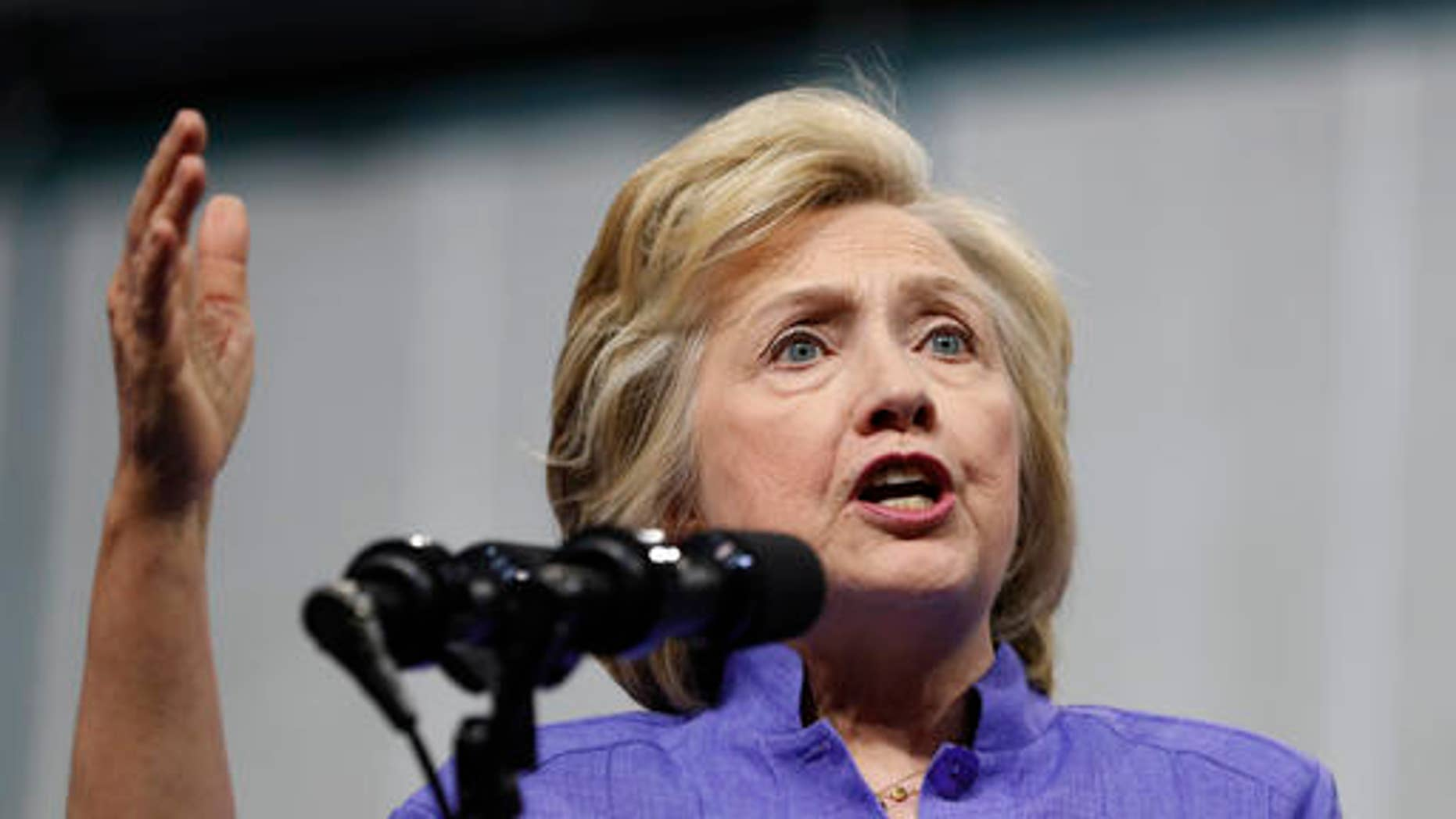 Democratic presidential candidate Hillary Clinton speaks at a campaign event.