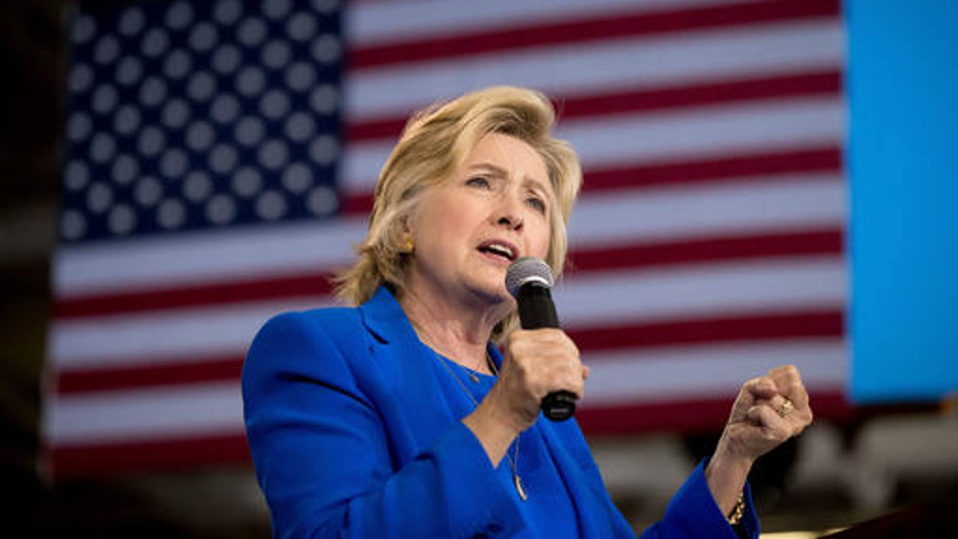 Democratic presidential candidate Hillary Clinton speaks at a rally at Johnson C. Smith University in Charlotte, N.C., Thursday, Sept. 8, 2016.