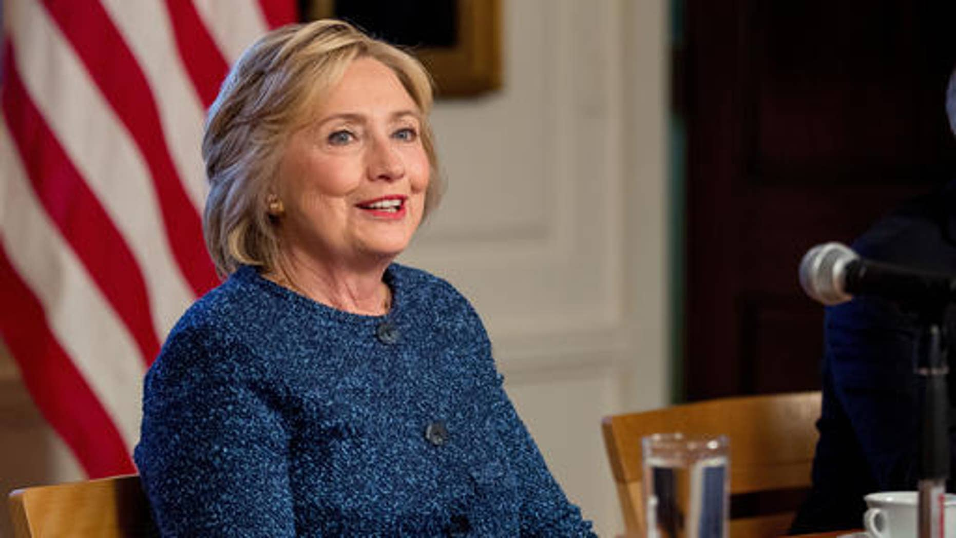 FILE - In this Sept. 9, 2016 file photo, Democratic presidential candidate Hillary Clinton attends a National Security working session at the Historical Society Library in New York.