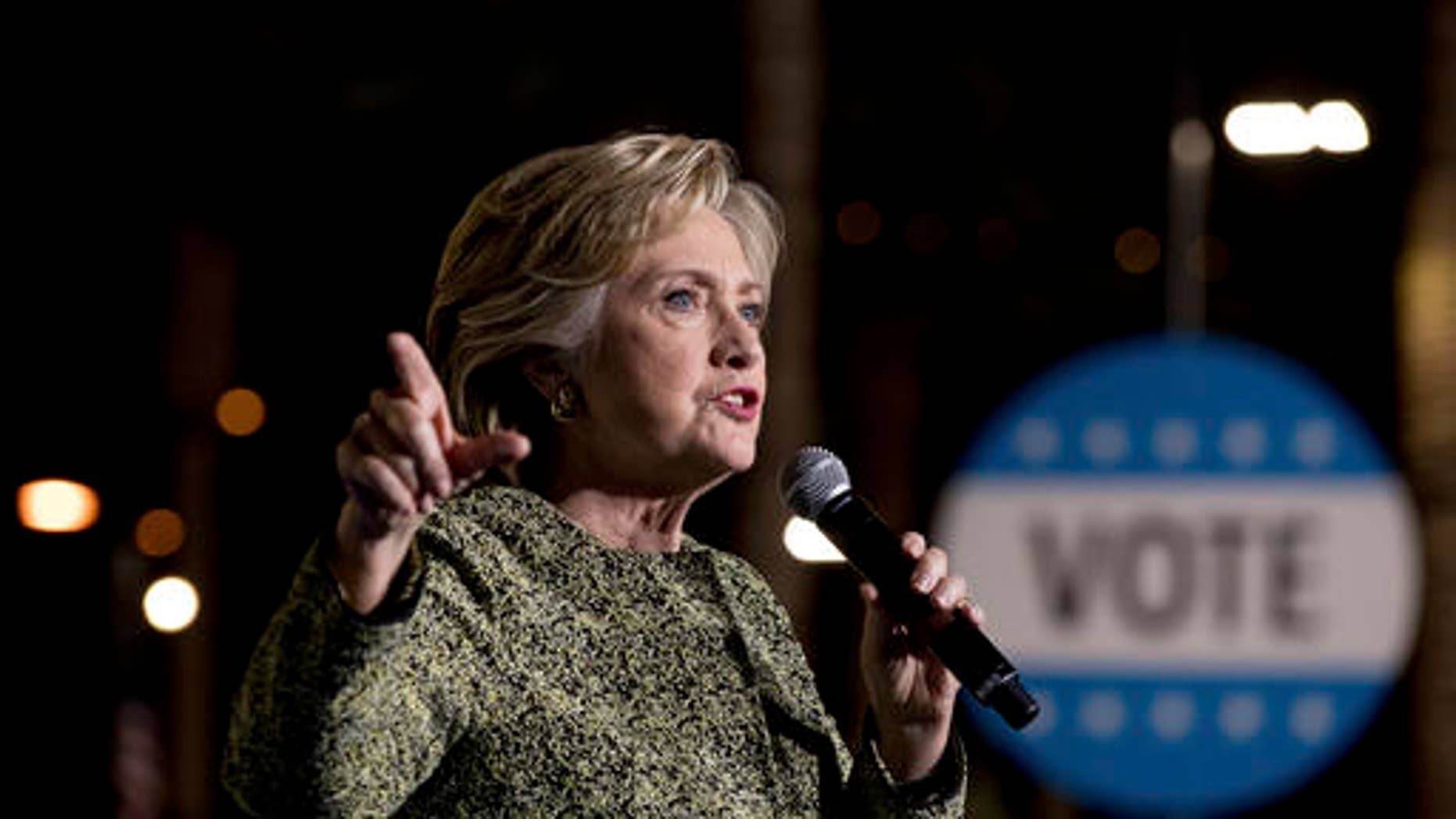 Democratic presidential candidate Hillary Clinton speaks at a rally at the Smith Center for the Performing Arts in Las Vegas, Wednesday, Oct. 12, 2016.