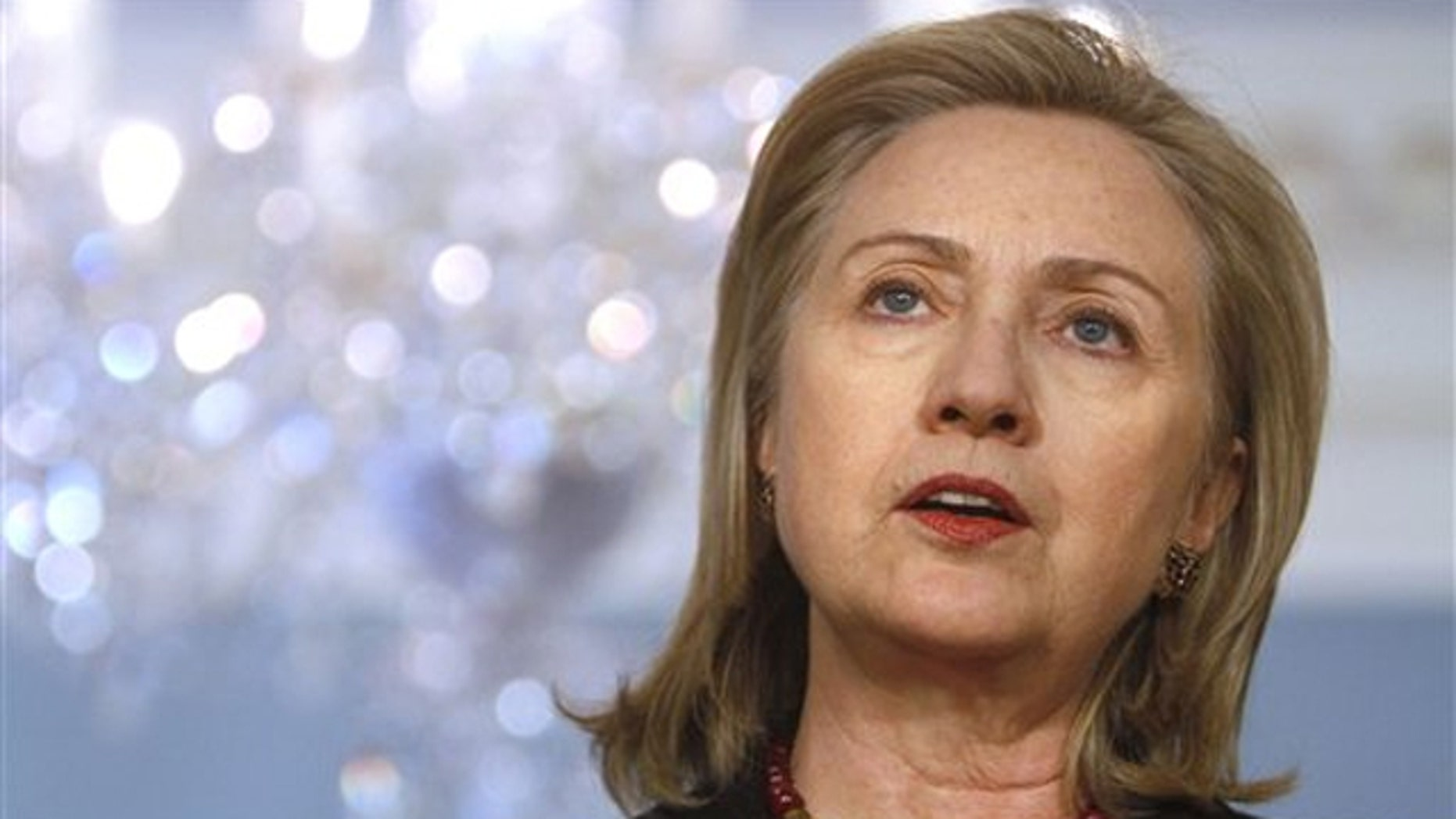 Secretary of State Hillary Clinton speaks at the State Department in Washington Feb. 22.