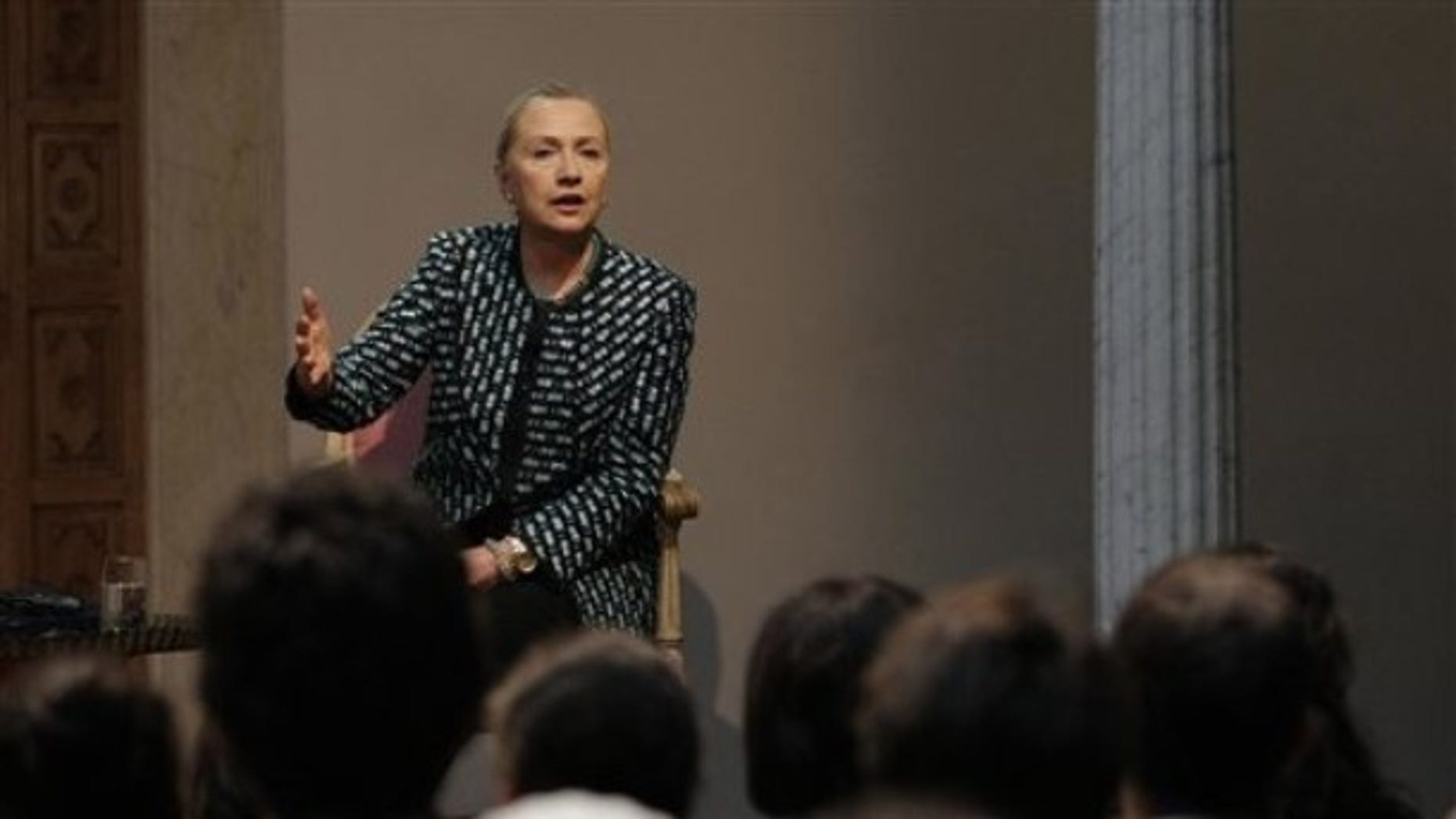 Feb. 25, 2012: Secretary of State Hillary Rodham Clinton participates in a town hall meeting in Carthage, Tunisia.