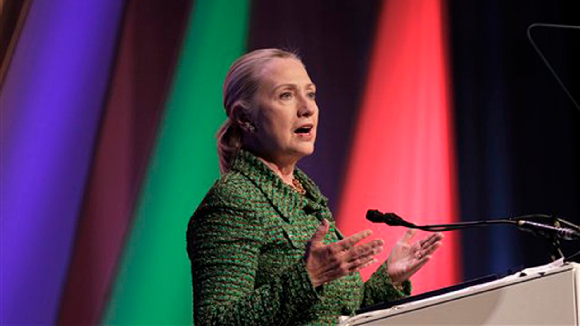 Dec. 8, 2011: Secretary of State Hillary Clinton delivers a speech at the Conference on Internet Freedom in The Hague, Netherlands.