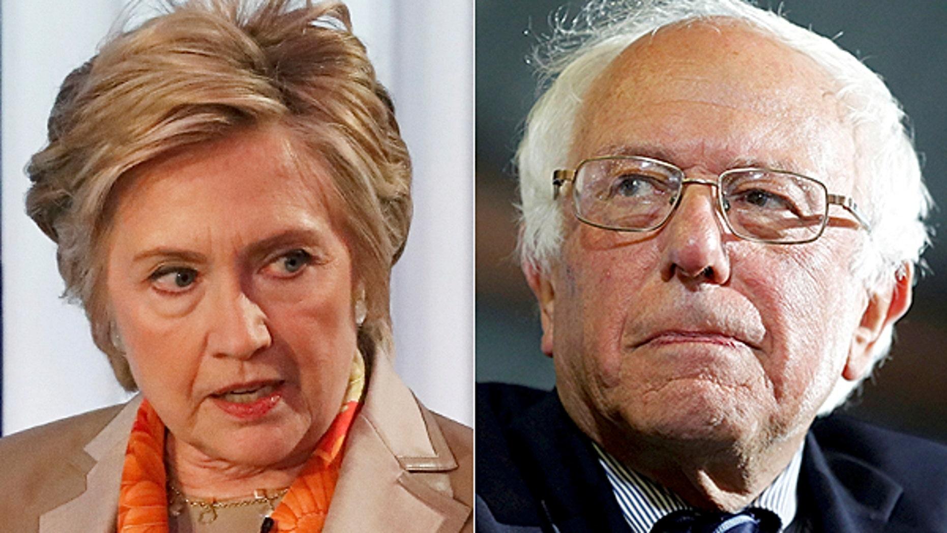 Former Secretary of State Hillary Clinton and Vermont Sen. Bernie Sanders.