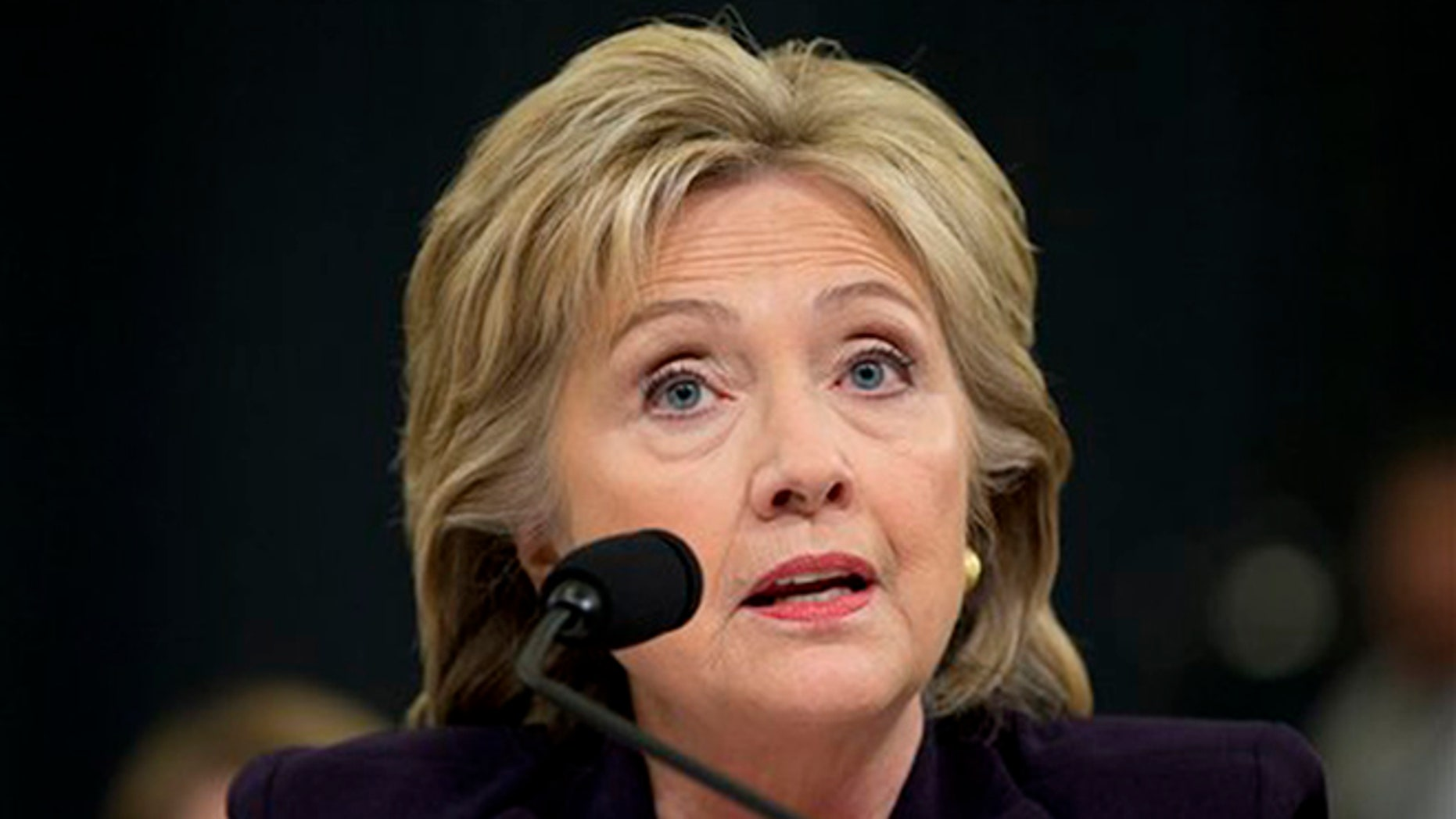 Democratic presidential candidate, former Secretary of State Hillary Rodham Clinton testifies on Capitol Hill in Washington, Thursday, Oct. 22, 2015, before the House Benghazi Committee. (AP Photo/Evan Vucci)