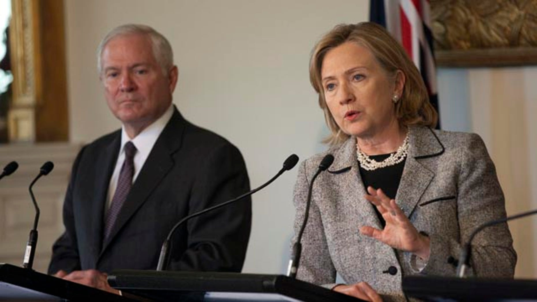 Nov. 8: U.S. Secretary of Defense Robert Gates and U.S. Secretary of State Hillary Rodham Clinton at a news conference at Government House in Melbourne, Australia. Clinton wishes for Gates to remain in office saying, 'We came in together, we should go out together. That's my theory.'