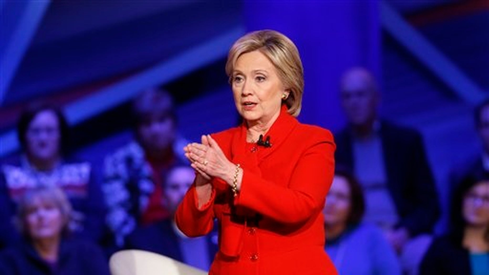 Democratic presidential candidate Hillary Clinton speaks during a CNN town hall at Drake University.