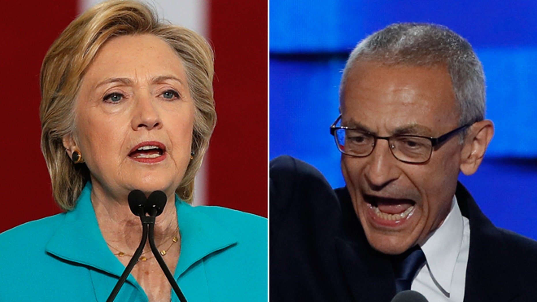 This composite image shows Hillary Clinton, left, and Clinton campaign Chair John Podesta, right.