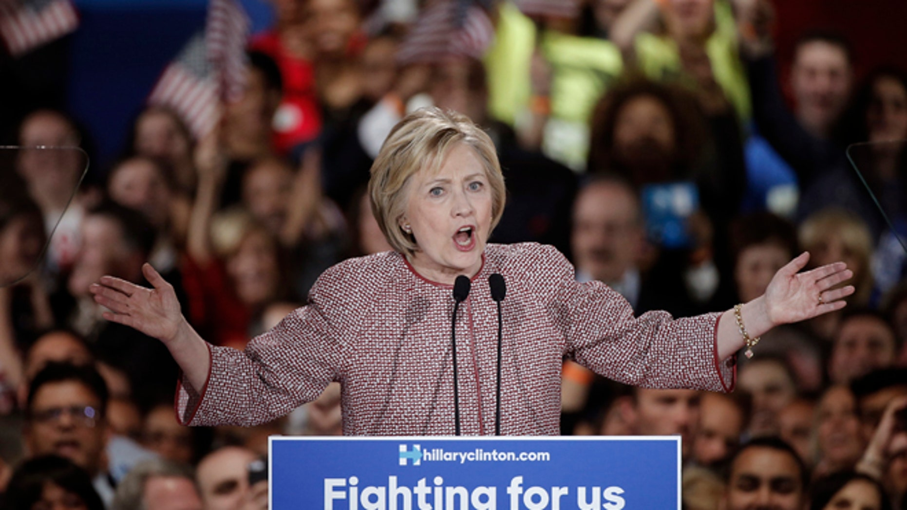 Democratic presidential candidate Hillary Clinton speaks at her New York presidential primary night rally in the Manhattan borough of New York City, U.S., April 19, 2016.