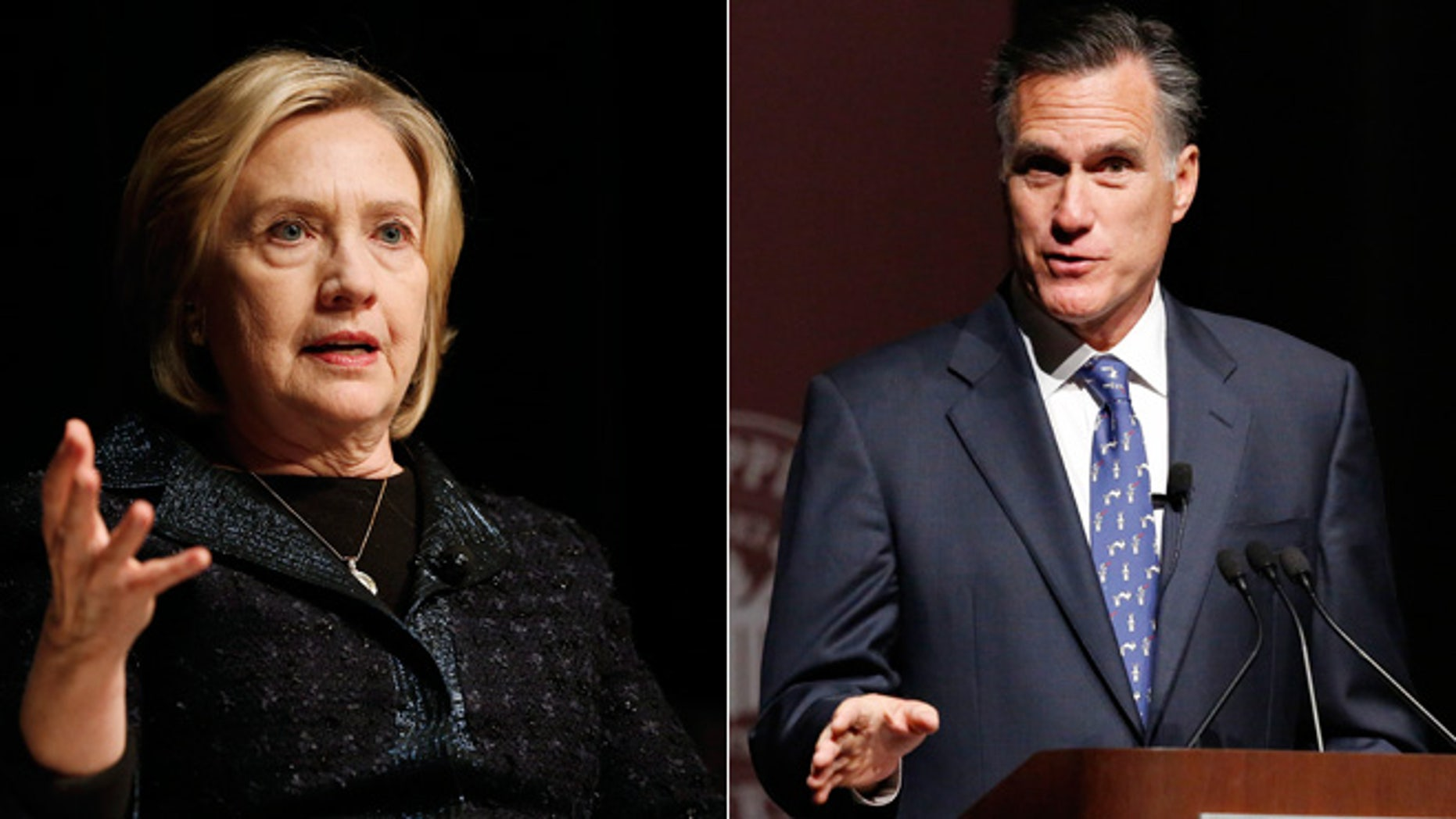 Shown above: Former Secretary of State Hillary Clinton (left) and former Massachusetts Governor Mitt Romney (right).