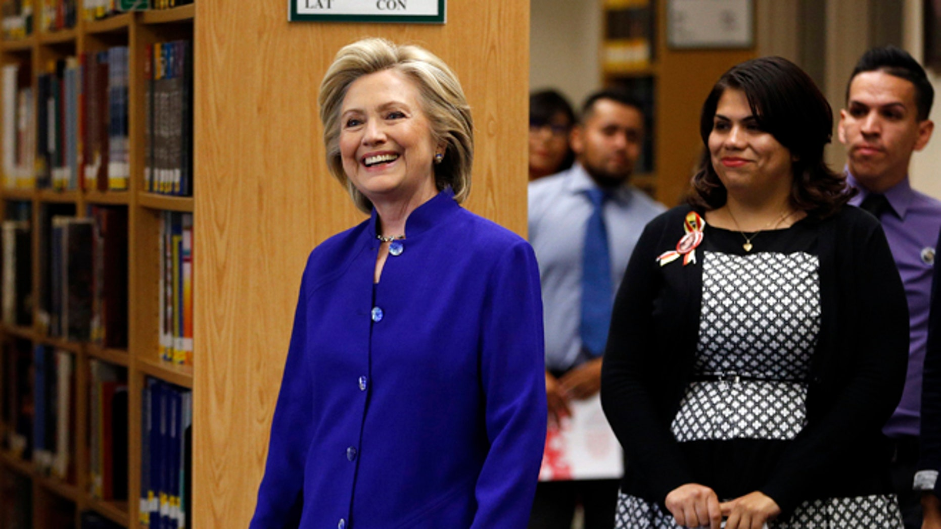 May 5, 2015: Democratic presidential candidate Hillary Rodham Clinton walks into an event at Rancho High School in Las Vegas. (AP)