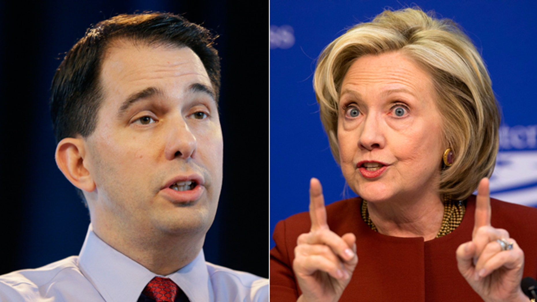 Wisconsin Gov. Scott Walker, left, former Sec. of State Hillary Clinton, right.