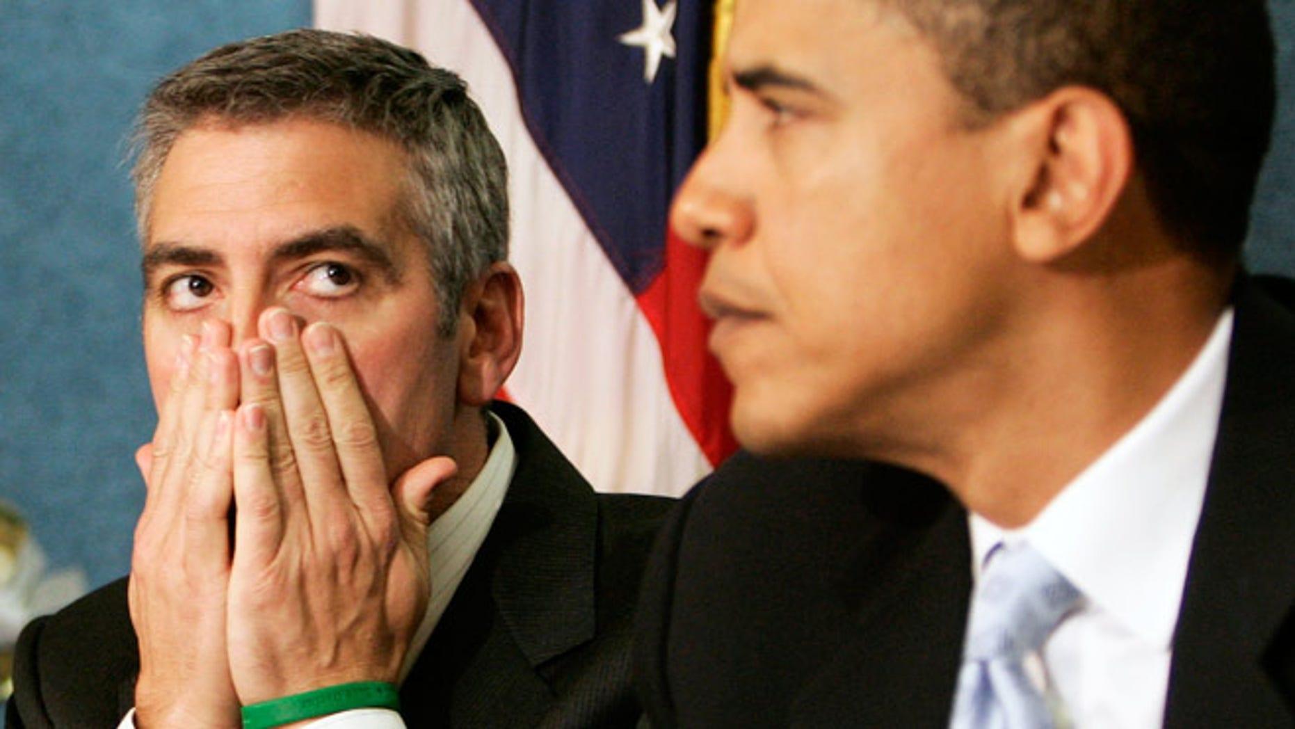 George Clooney with then Senator Barack Obama in 2006.
