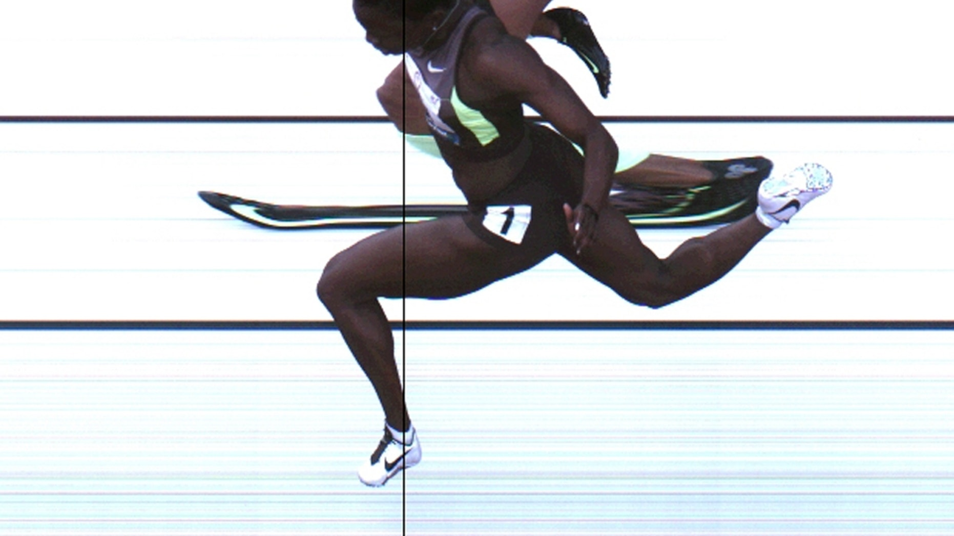 June 23, 2012: Third-place finish of the women's 100-meter final from a photo-finish camera, shot at 3,000-frames-per-second, during the U.S. Olympic Track and Field Trials in Eugene, Ore.