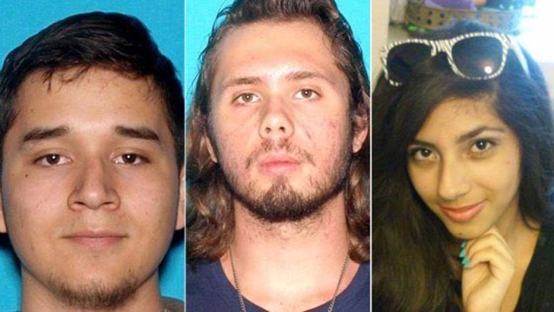 Investigators have not confirmed whether the bodies found are (from left) Daniel Gamboa, Kasey Vance and Samantha Ornelas, who disappeared Saturday.