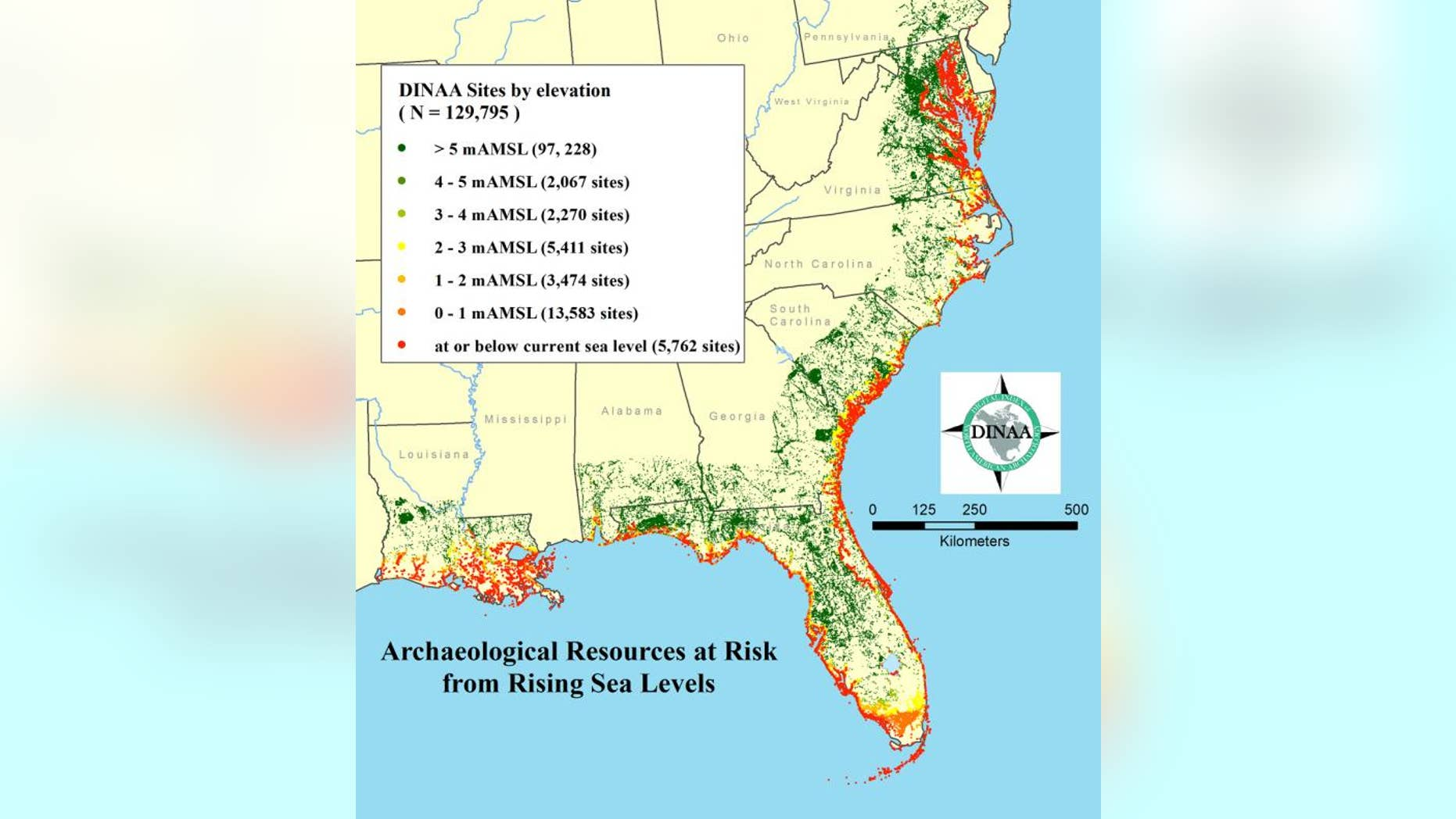 Tens of thousands of known archaeological sites are threatened by sea level rise in the southeast, and far more currently unknown and unrecorded, as shown here at low spatial resolution.
