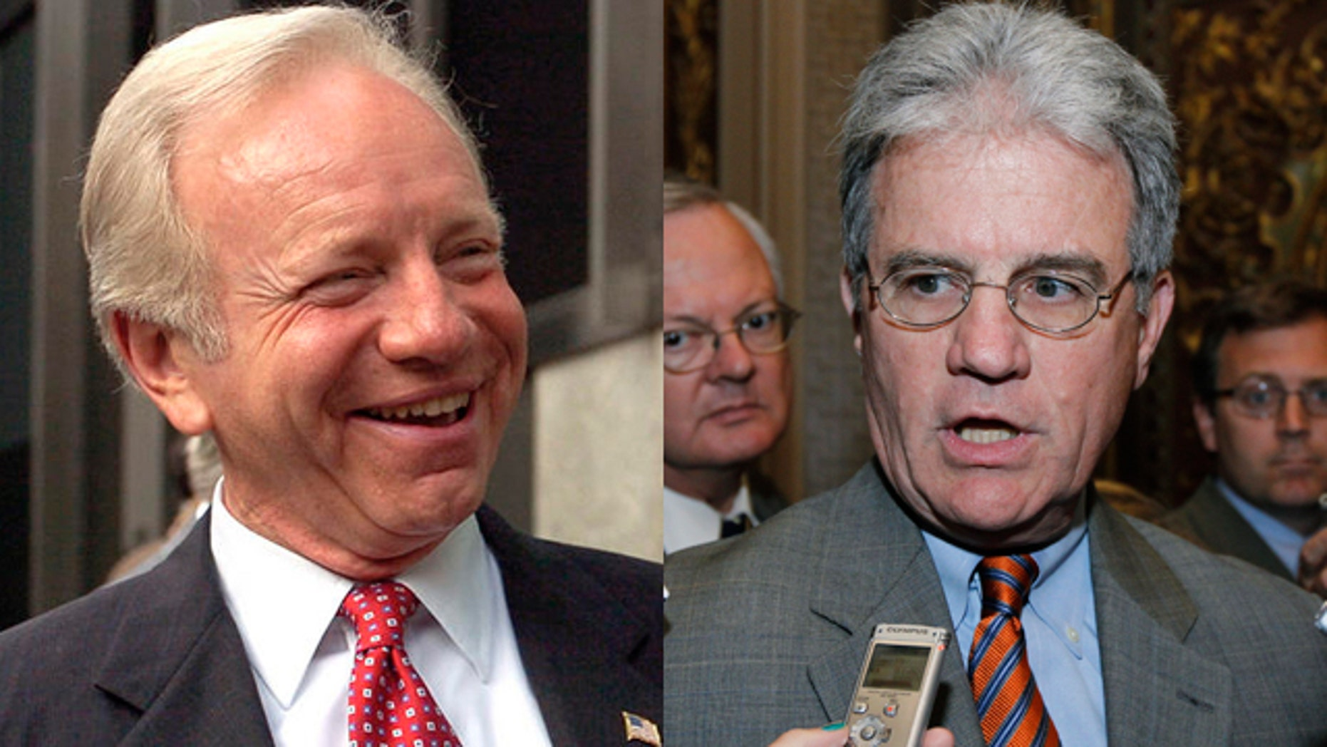 Sens. Joe Lieberman, D-Conn., left, and Tom Coburn, R-Okla.