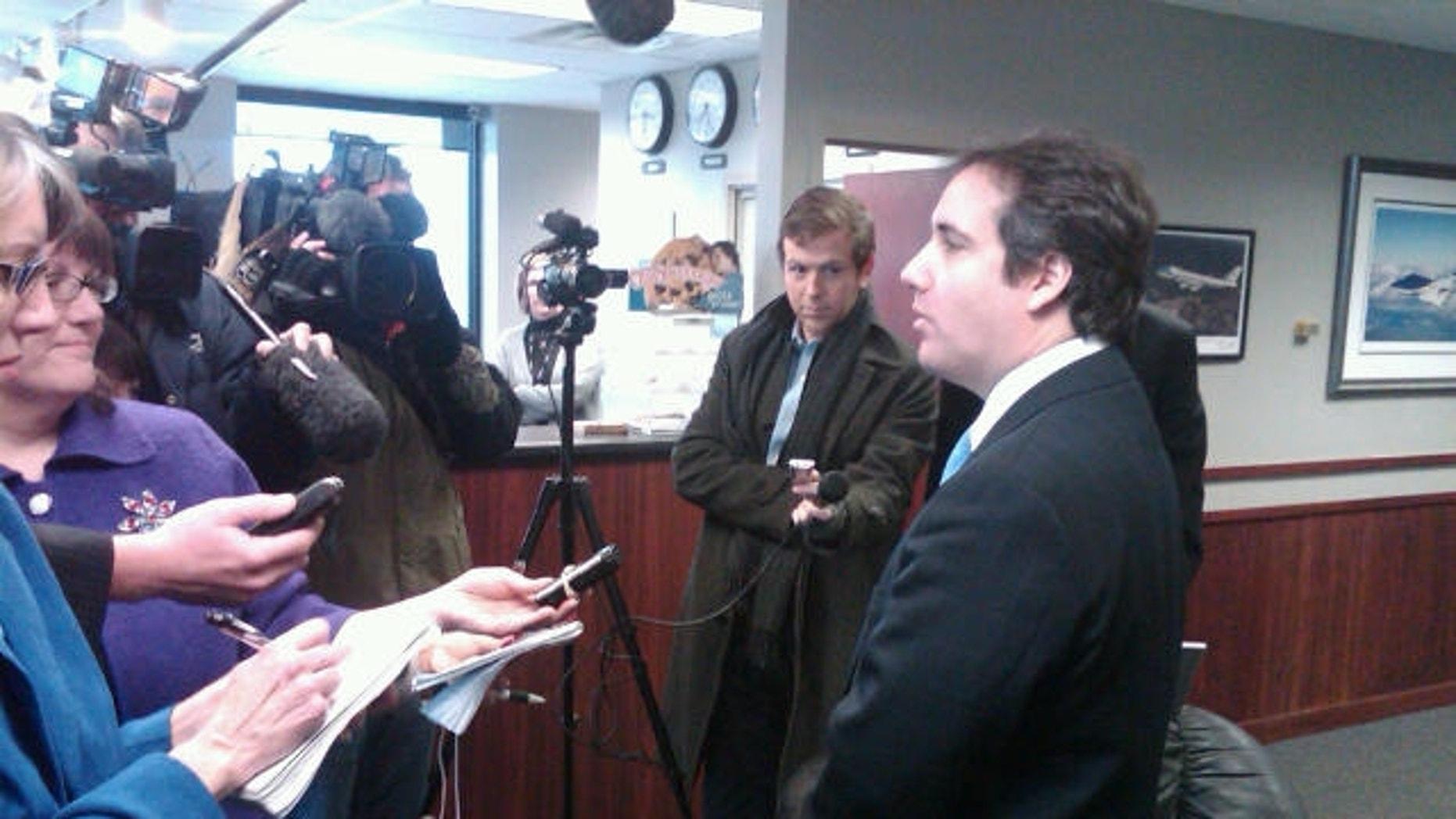 Michael Cohen talks to reporters in Des Moines, Iowa Monday, March 7, 2011 (Fox News Photo)