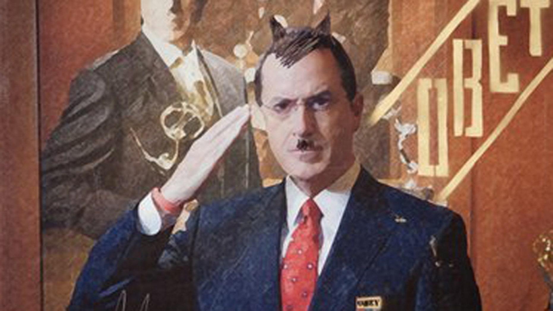Stephen Colbert is auctioning this portrait. (AP)