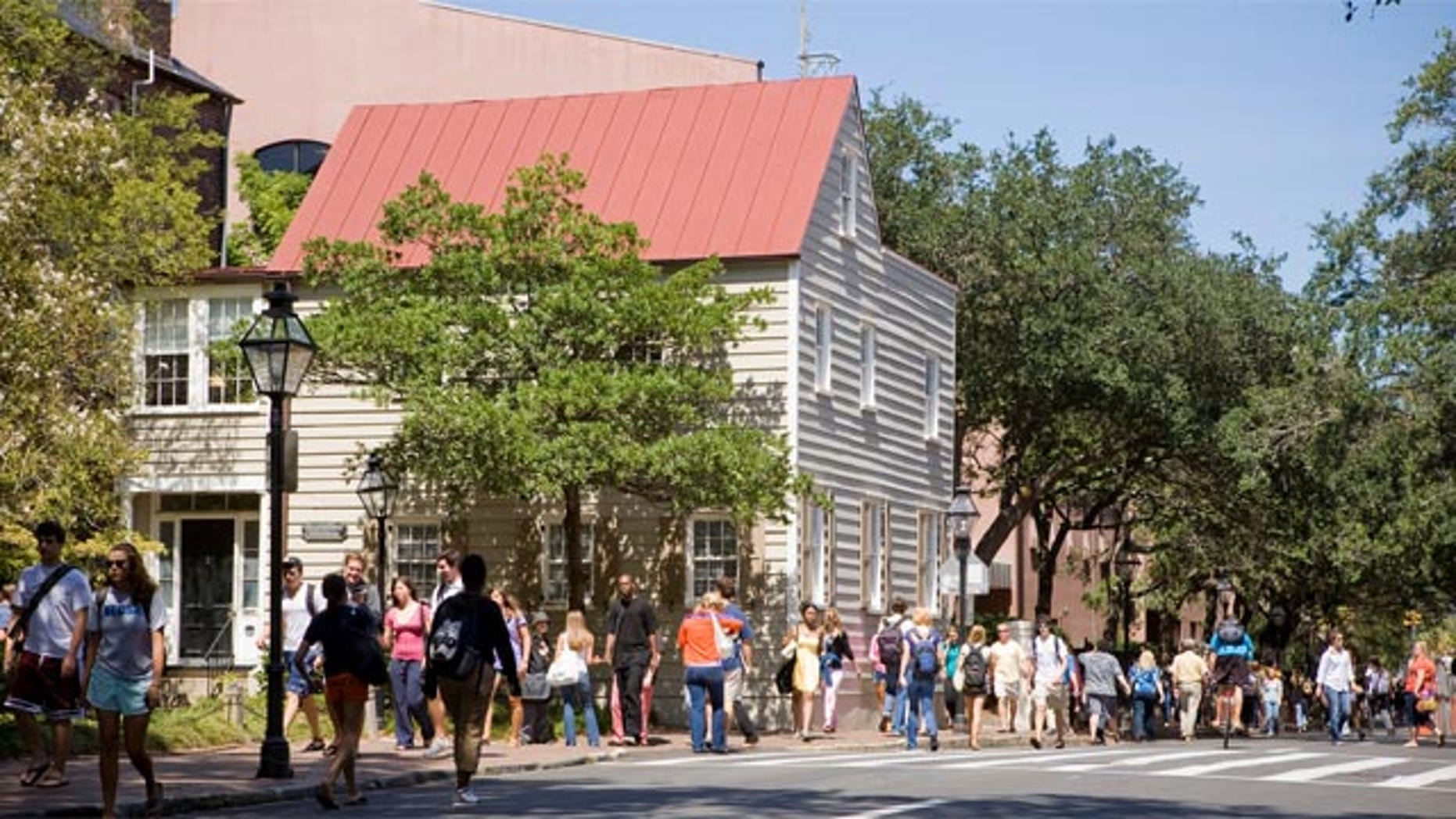 Students walk at the College of Charleston in South Carolina.