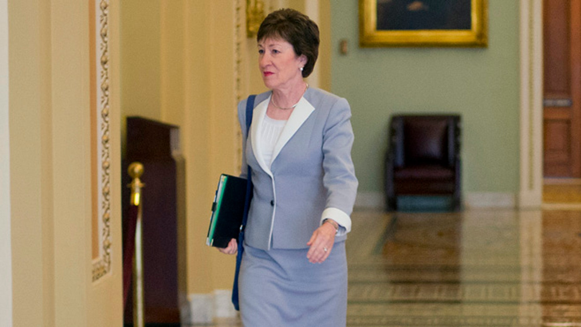 Sept. 8, 2015: Sen. Susan Collins, R-Maine, walks to the Senate floor at the Capitol in Washington. (AP)