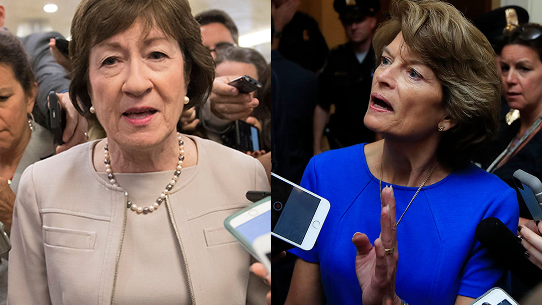 Sen. Susan Collins, R-Maine, left, and Sen. Lisa Murkowski, R-Alaska, were the only Republicans to vote against Tuesday's motion to proceed