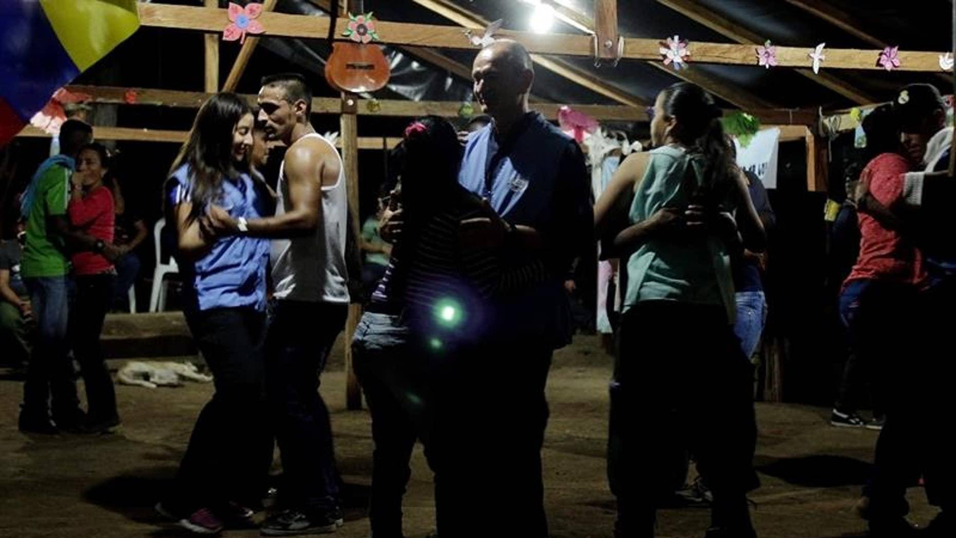 FARC rebels dancing in Colombia.