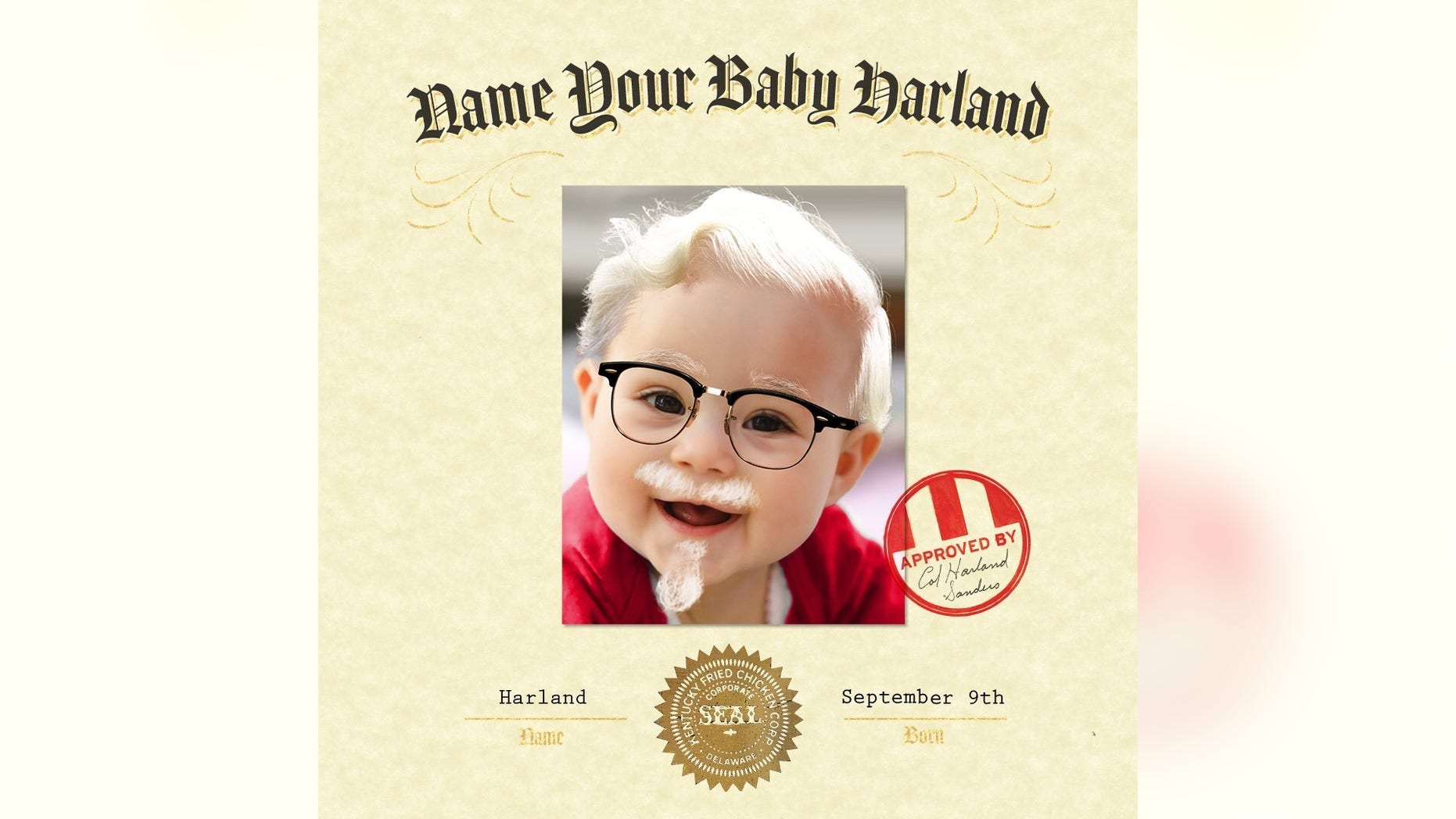 KFC's new 'Name Your Baby Harland' contest tasks parents with doing just that for a chance at $11,000.