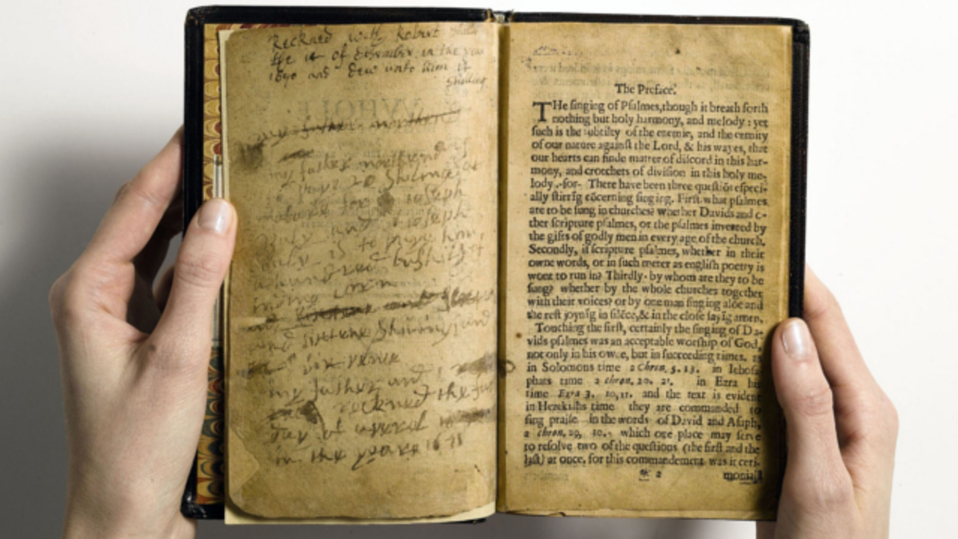 April 2013: This photo provided by Sotheby's and taken in New York shows what they describe as 'the world's most valuable book,' the Bay Psalm Book, which is the first book ever printed in what is now the United States.