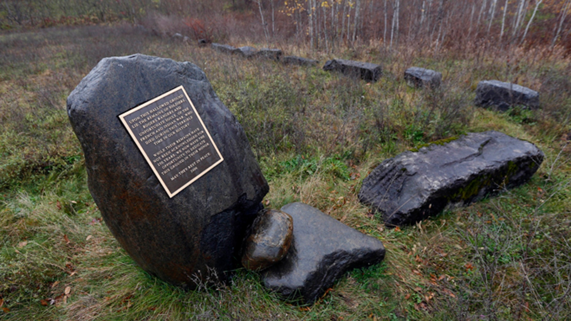Oct. 29: A plaque remembers those buried in a Colonial-era cemetery on Rogers Island in Fort Edward, N.Y. The cemetery could hold the remains of hundreds of people, including some of the famous frontier fighters known as Rogers' Rangers.