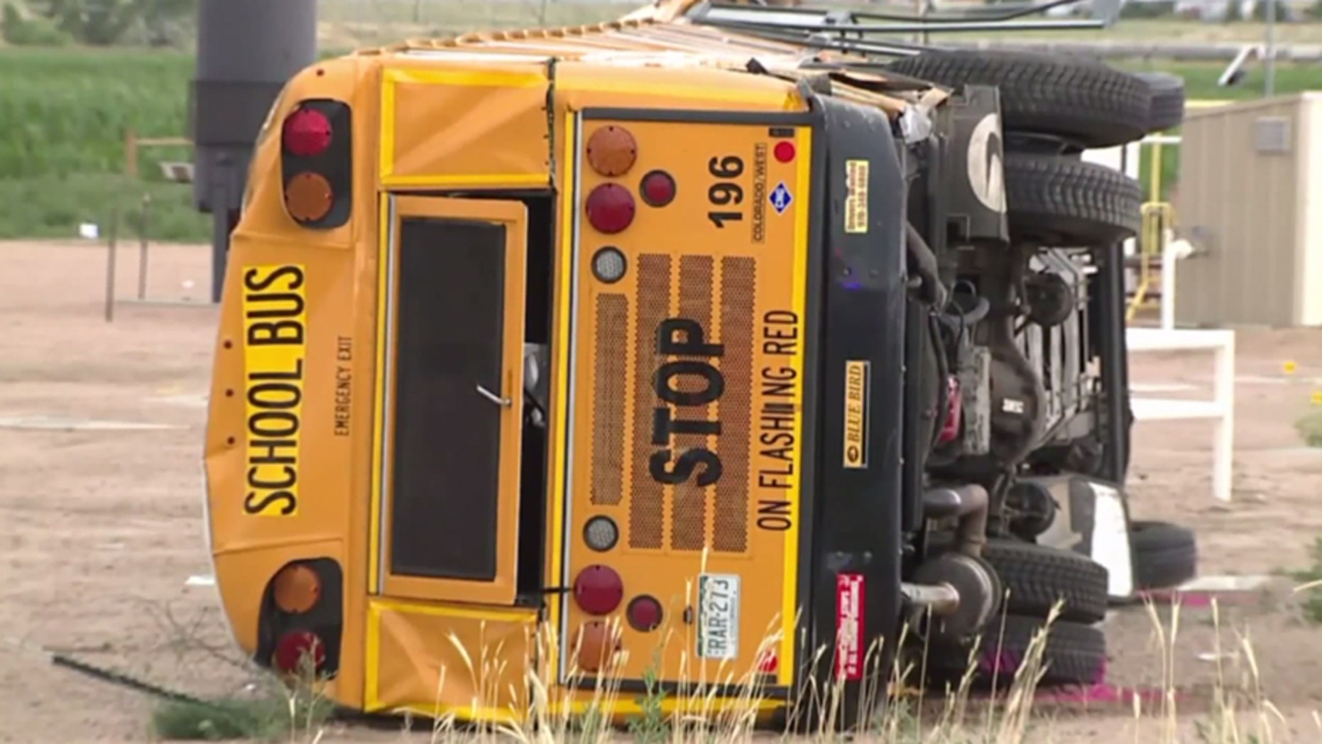 A school bus overturned in Colorado on Thursday after being run off the road.