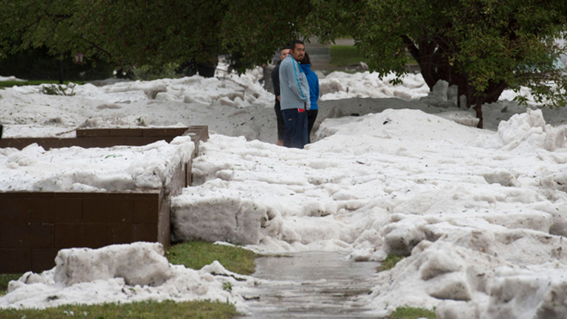 Hail as deep as two feet lies in the front yards of home along Logan Avenue between Platte Avenue and Bijou Street after a storm hit Colorado Springs, Colo., Monday, Aug. 29, 2016.