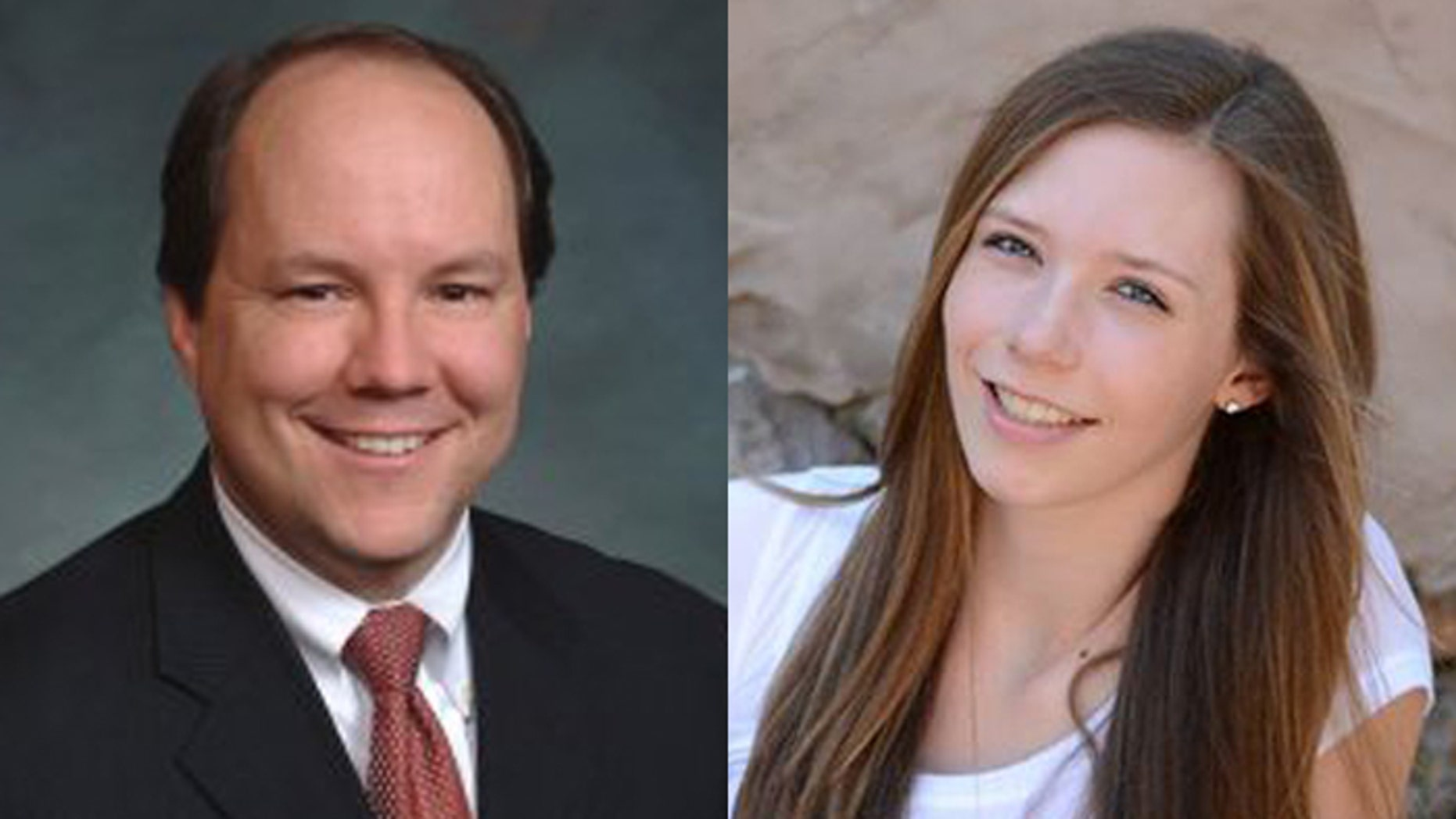 The son of Colorado State Sen. Ted Harvey, (l.), attends the same high school were a student gunned down Claire Davis (r.).