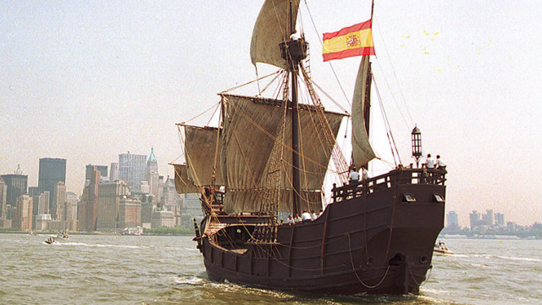 June 26, 1992: A replica of Christopher Columbus' cargo ship, the Santa Maria, is shown.