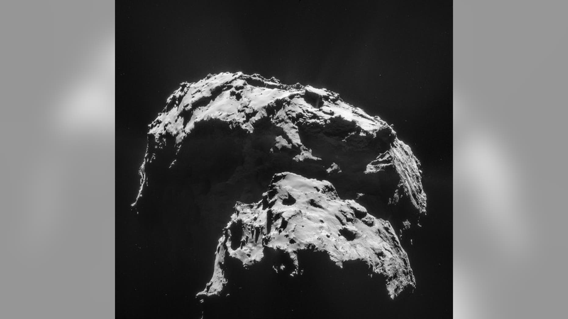 Comet 67P/Churyumov-Gerasimenko is seen here in an image captured by the Rosetta spacecraft. The mission's Philae lander hit the surface with a big bounce, demonstrating that the comet's surface is hard.