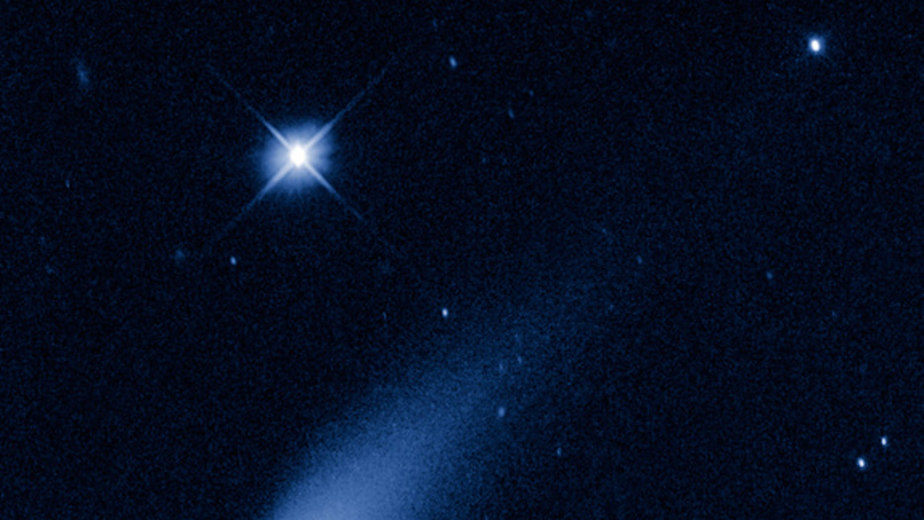 May 8, 2013: The Hubble Space Telescope captured this view of Comet ISON, C/2012 S1 (ISON) as it streaked between the orbits of Jupiter and Mars at a speed of about 48,000 mph.