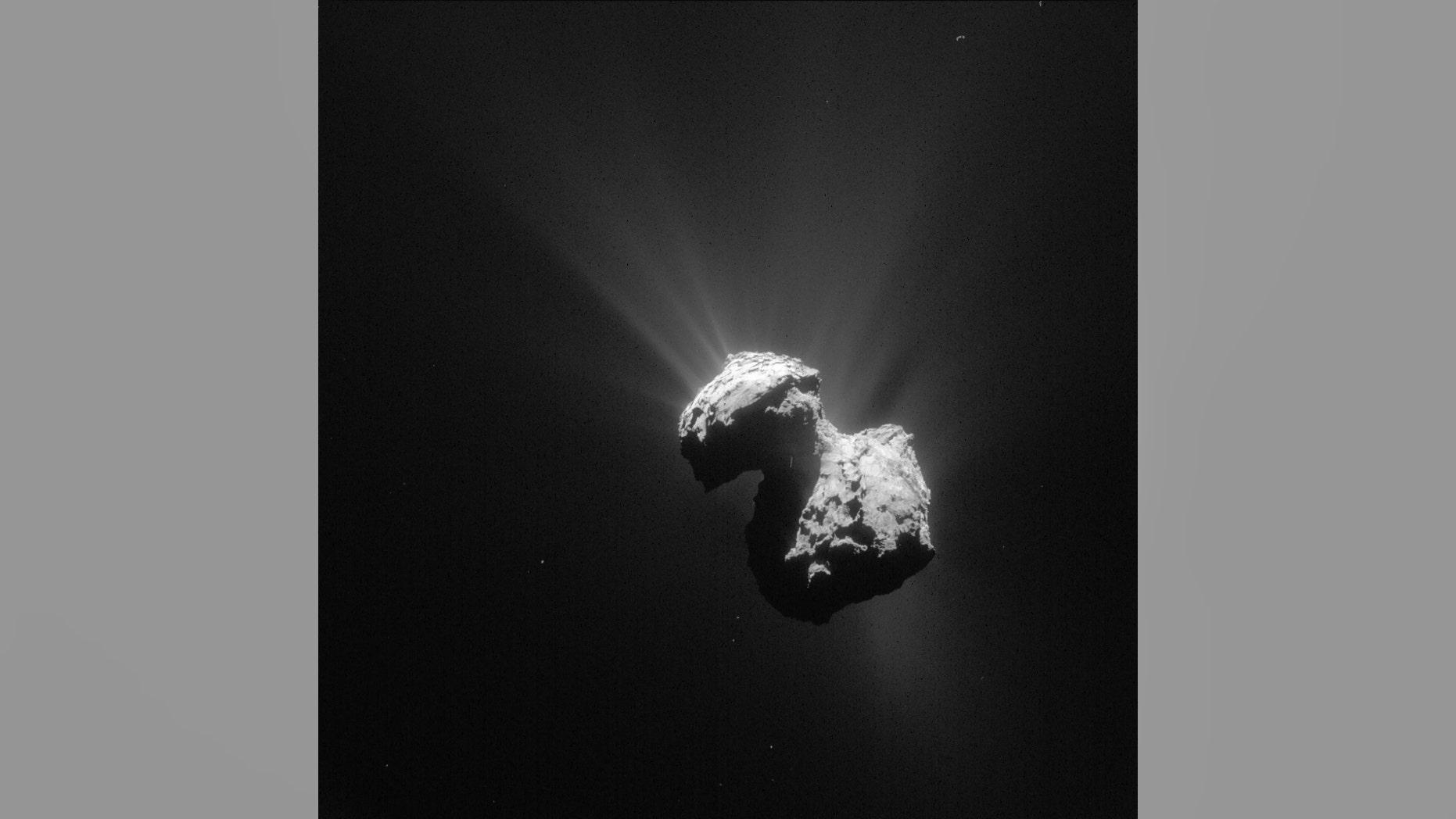 This single frame Rosetta navigation camera image of Comet 67P/Churyumov-Gerasimenko was taken on 7 July 2015 from a distance of 154 km from the comet centre. The image has a resolution of 13.1 m/pixel and measures 13.4 km across.