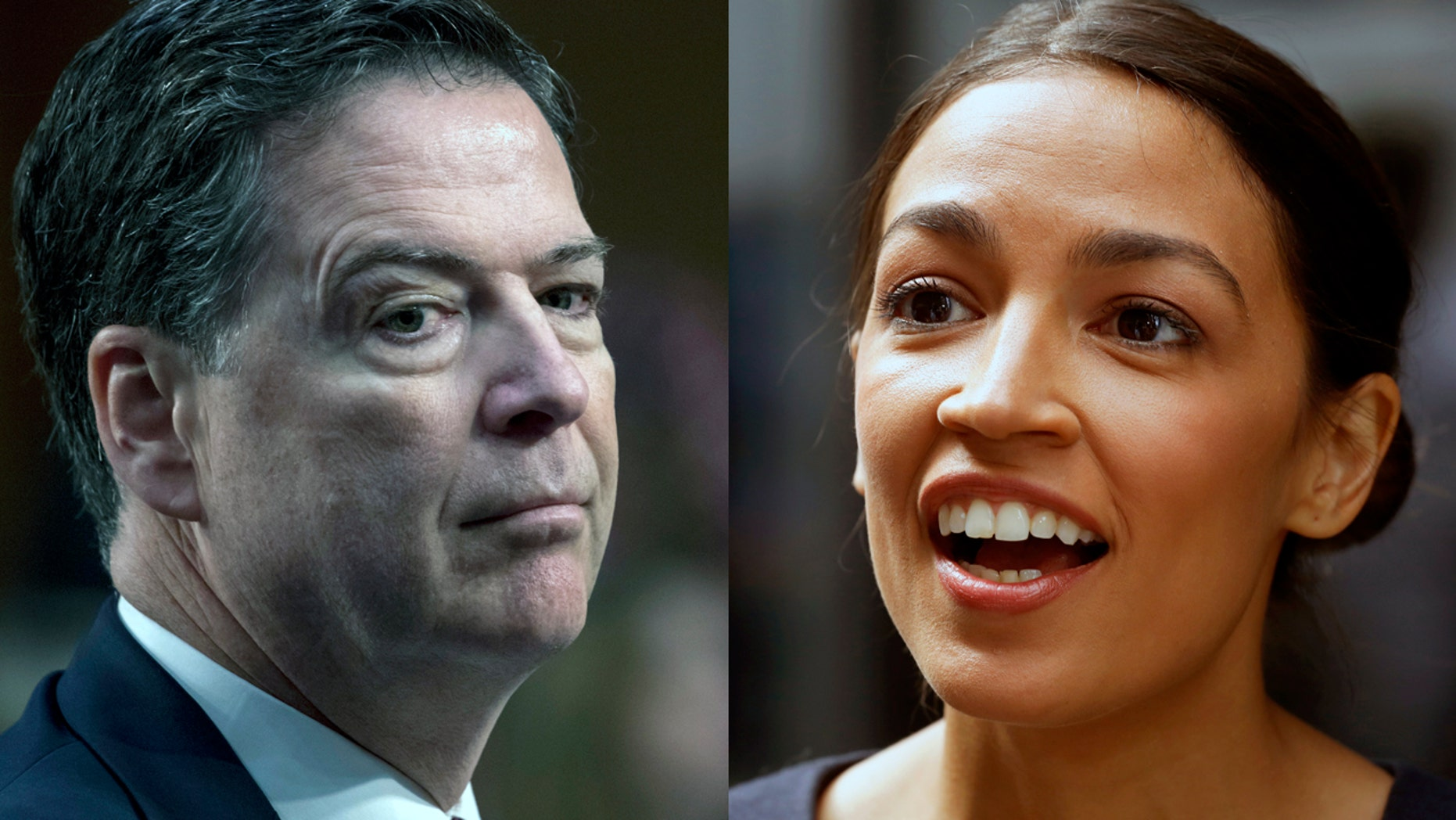 Former FBI Director James Comey, left, and Democratic congressional candidate Alexandria Ocasio-Cortez.