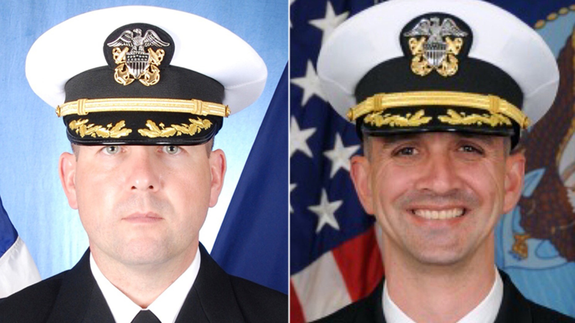Former USS Fitzgerald commander Cmdr. Bryce Benson (left) and former USS John S. McCain commander Cmdr. Alfredo J. Sanchez were charged.