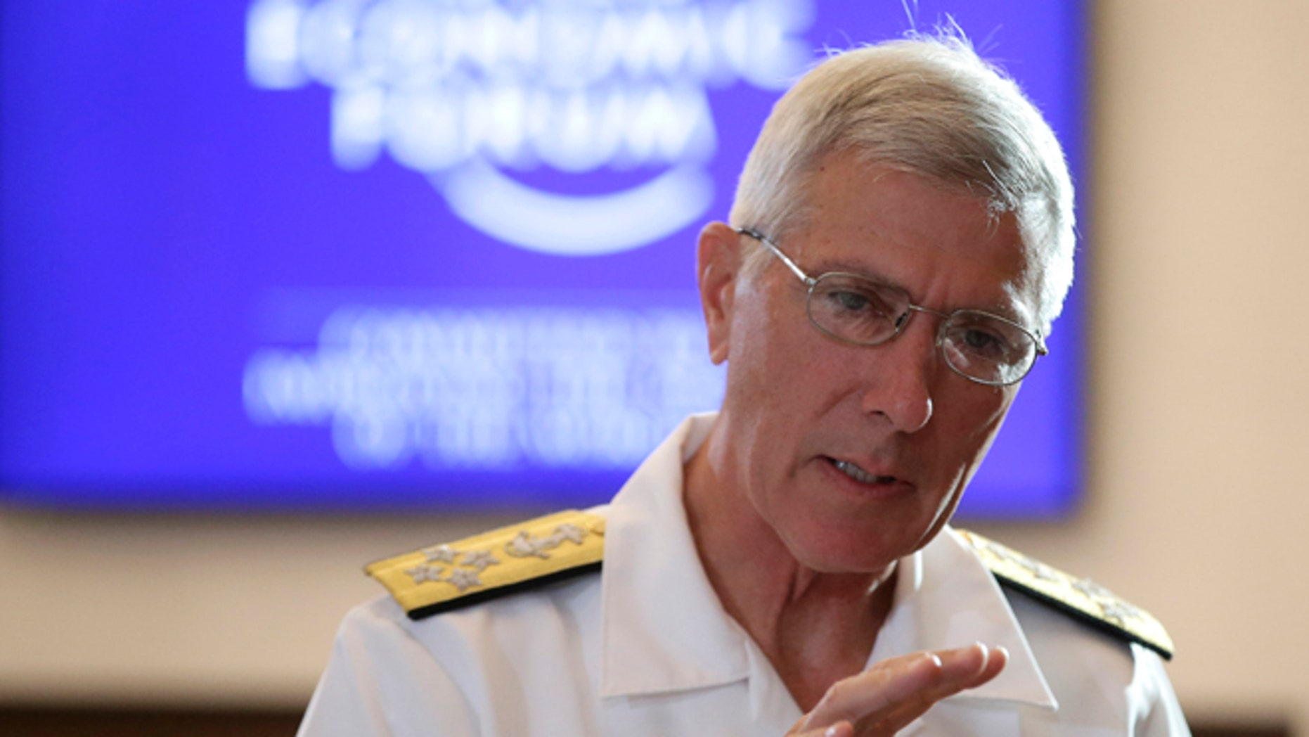 "May 23, 2014: U.S. Pacific Command Commander Adm. Samuel J. Locklear III, gestures prior to the session on ""Security Outlook"" in the ongoing World Economic Forum on East Asia."