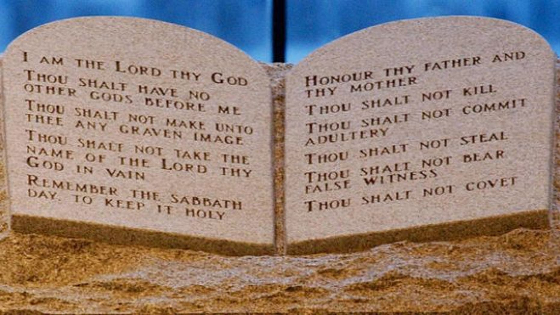 FILE: Aug. 25, 2003: A Ten Commandments memorial is shown in the Alabama Judicial Building in Montgomery.