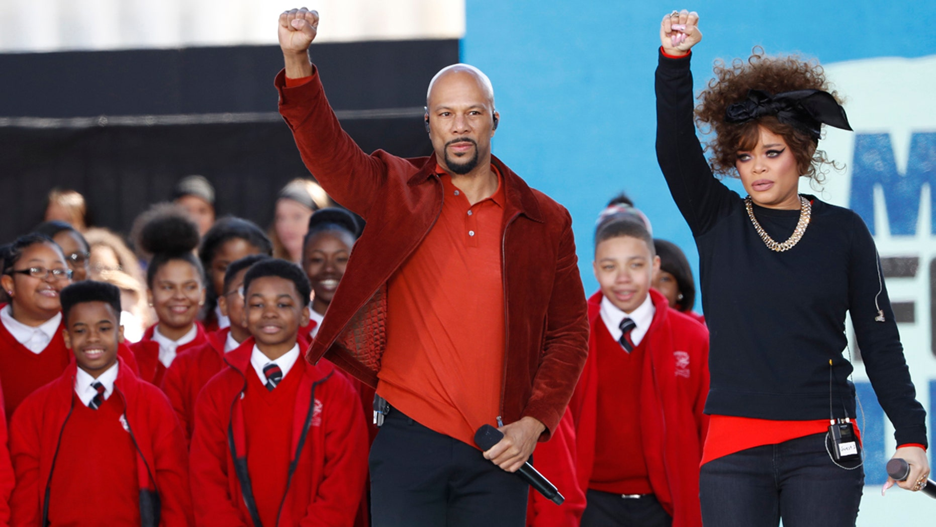 Singers Common and Andra Day perform with Baltimore's Cardinal Shehan Choir during the March for Our Lives event demanding gun control after recent school shootings at a rally in Washington, D.C., March 24, 2018.