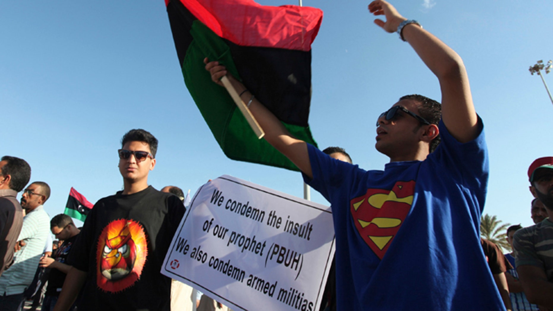Sept. 21: Libyans participate in a protest against Ansar Al-Shariah, a militia of Islamic extremists, and other Islamic militias in Benghazi, Libya