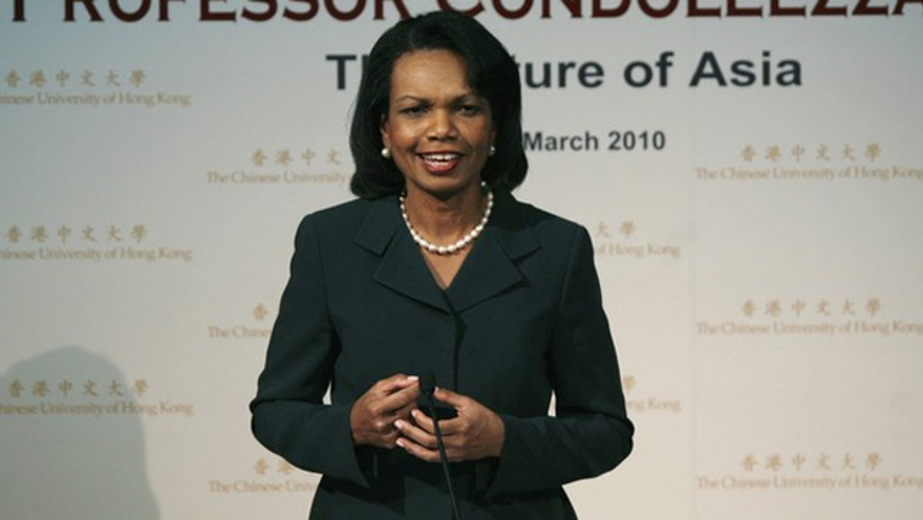 "Former U.S. Secretary of State Condoleezza Rice speaks during a lecture ""The Future of Asia"" at the Chinese University of Hong Kong March 19, 2010. (Reuters)"