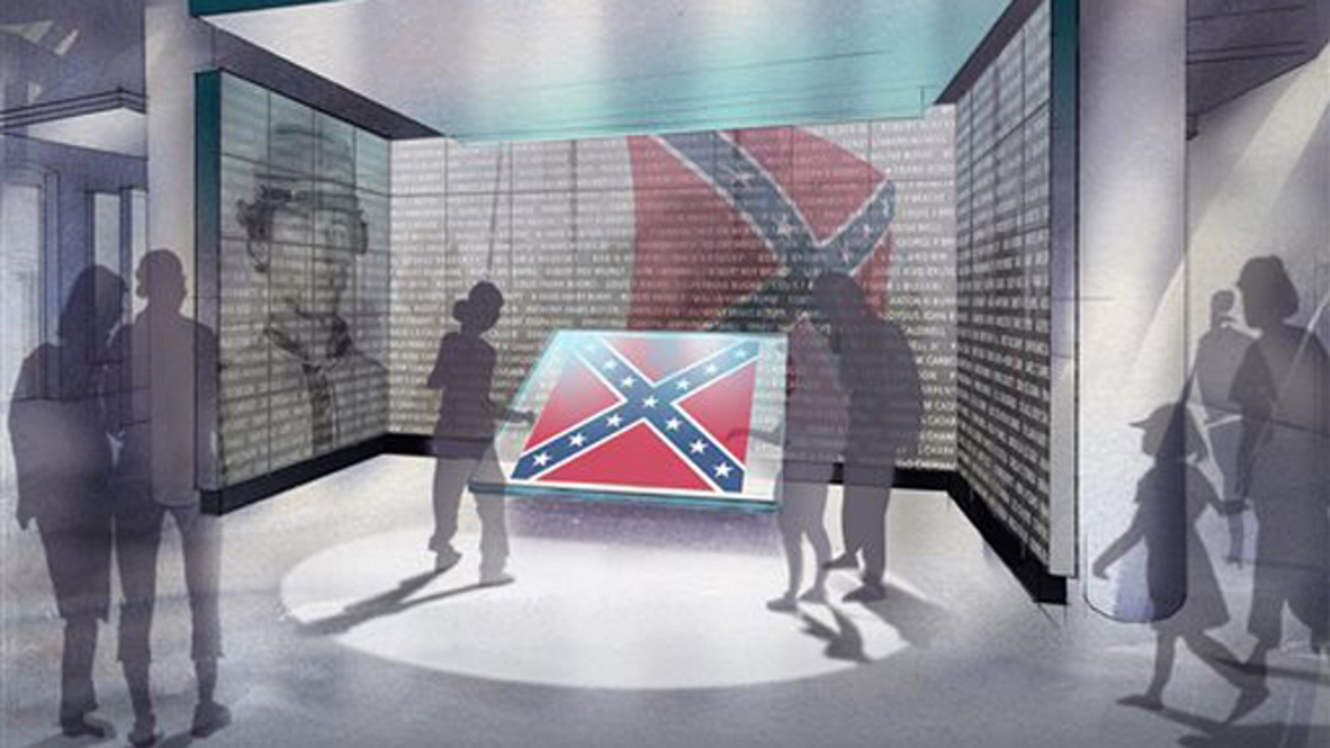 Dec. 3, 2015: This rendering made available by Haley Sharpe Design, shows the approved display design where the confederate flag that was removed from the South Carolina statehouse in the summer of 2015 will be shown.