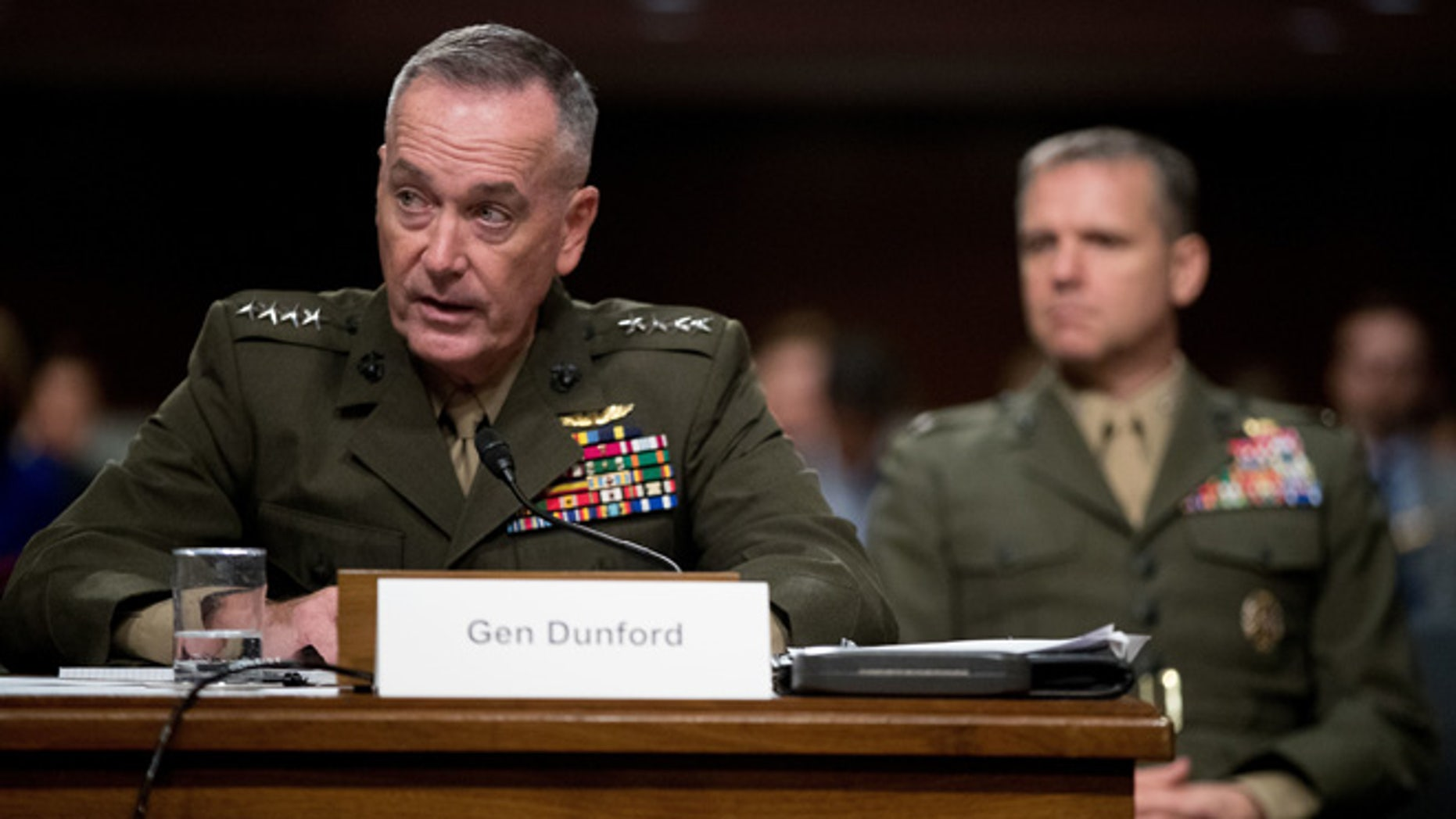 Joint Chiefs Chairman Gen. Joseph Dunford testifies on Capitol Hill in Washington, Thursday, Sept. 22, 2016, before the Senate Armed Services Committee hearing.