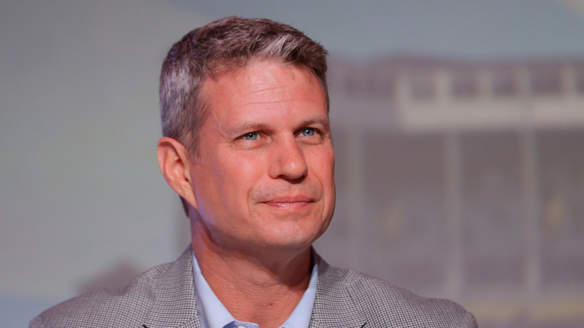 FILE - In this Sept. 19, 2015, file photo, Rep. Bill Huizenga, R-Mich., is seen during a congressional panel at the 2016 Mackinac Republican Leadership Conference in Mackinac Island, Mich.