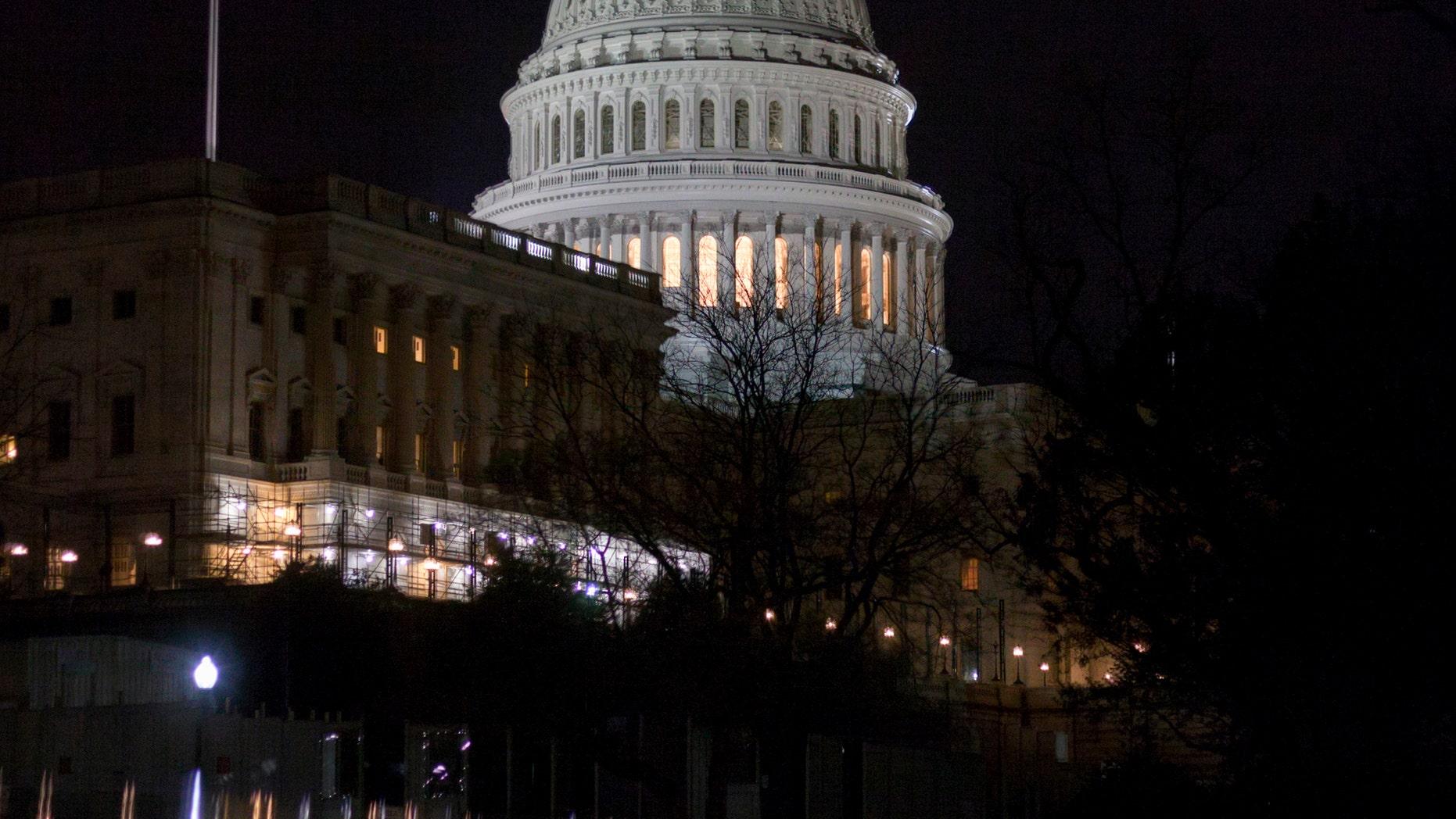 U.S. Capitol at night.