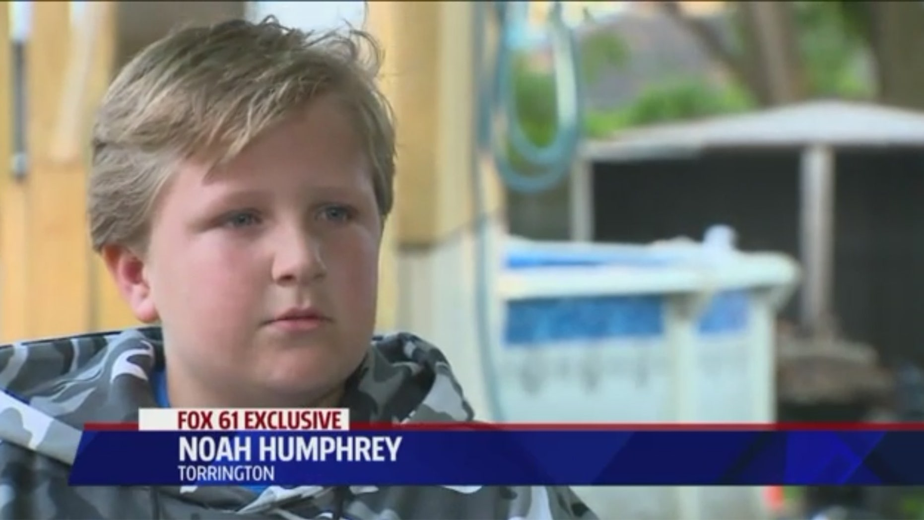 Noah Humphrey is being hailed as a hero after he saved his grandfather from drowning in a pool.