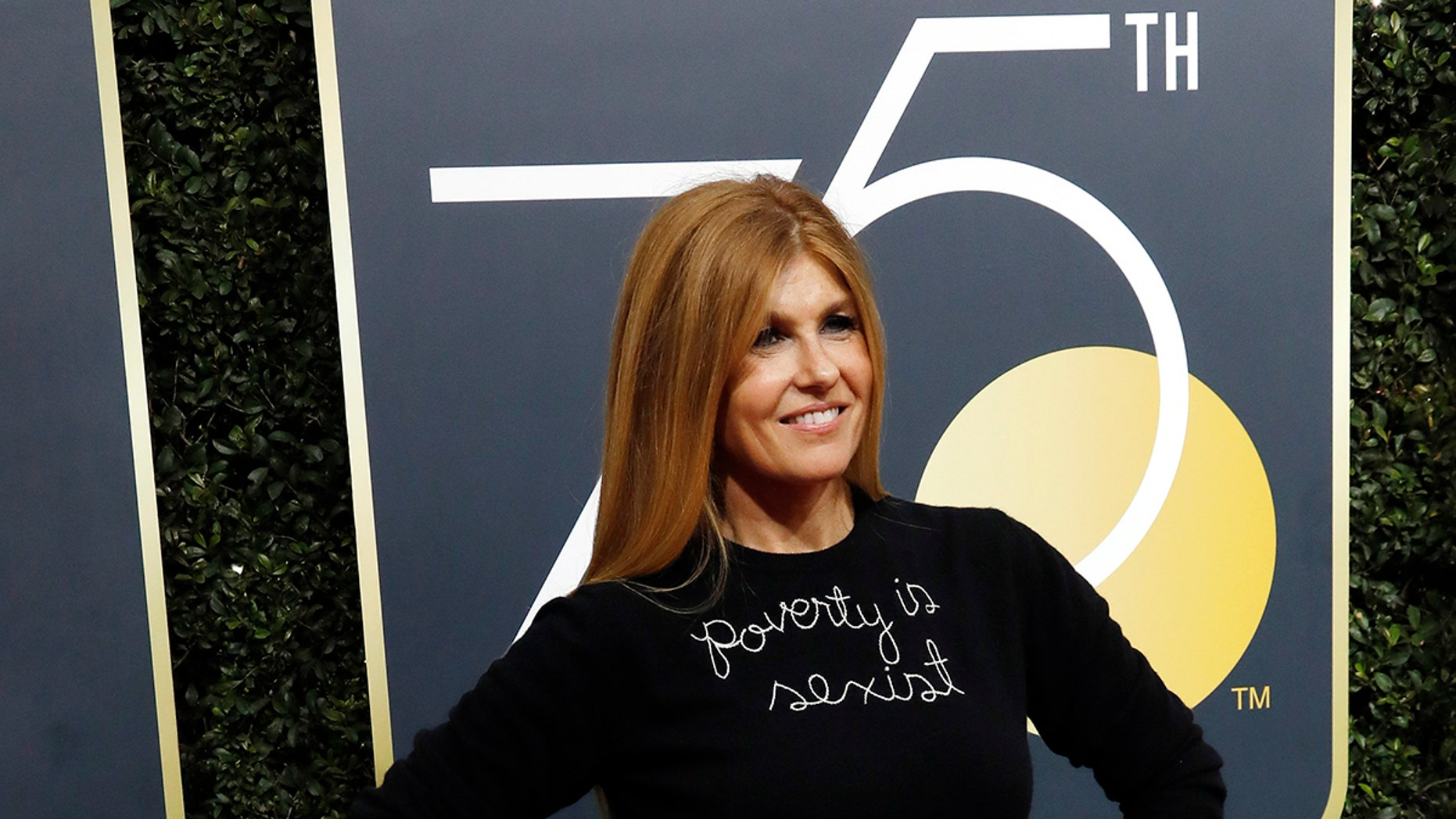 """Actress Connie Britton turns heads at the 2018 Golden Globes with """"Poverty is sexist"""" sweater."""